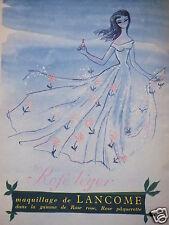 PUBLICITÉ 1954 MAQUILLAGE DE LANCÔME ROSE LÉGER - ADVERTISING