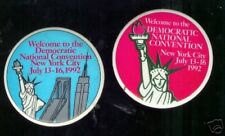 STATUE of LIBERTY Democratic CONVENTION 2 pins 1992  Bill CLINTON