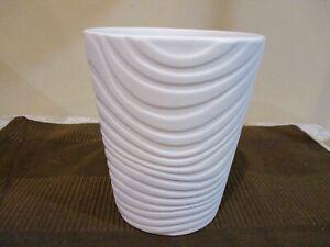 "White Textured  Wave Pattern Ceramic Pot,  5.5"" Tall (1pc)"