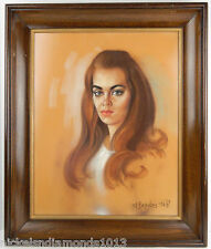Vtg. 1968 Pastel Portrait Beautiful Woman Girl Framed Painting MCM Ted Brawley