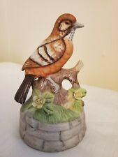 "Vintage Flambro Music Box/Figurine Bird on Log Flowers Plays ""Country Roads"""