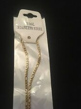 """3mm 16"""" Long Stainless Steel Figaro necklace Chain Pendant Gold Colour stnF3G"""