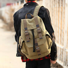 Men's Vintage Canvas Backpack Rucksack Laptop Shoulder Travel Hiking Outdoor Bag