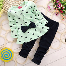 Newborn Baby Girls Spring&Atumn T-Shirt Tops+Pants Outfits Toddler Clothes Set