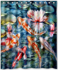 """60""""x72"""" Inches Japanese Koi Fish Shower Curtain New Waterproof Polyester Fabric"""