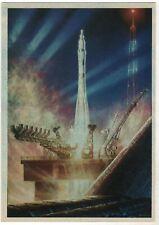 1980 Space Cosmos Rocket. Night start ART Sokolov Old Soviet Russian postcard