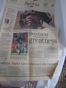 The News Sun November 2 1999 Sports Section Walter Payton Paper Newspaper