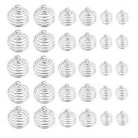 30 Pcs Silver Plated Spiral Bead Cages Pendant for Jewelry Craft Making zz