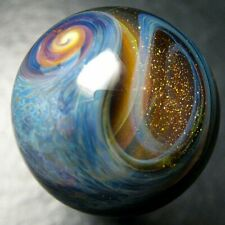 "Boomwire - .98"" Glass marble - lampwork boro handmade contemporary art orb gift"