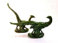 Pair (2) Vintage Porcelain Art Roadrunner Green Glaze Large Birds Art Neuveau