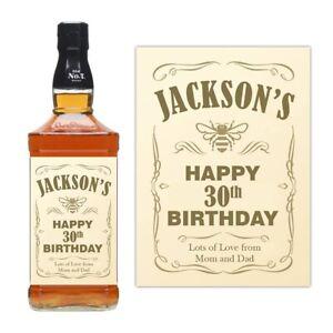 PERSONALISED NAME JACK DANIELS HONEY WHISKEY BOTTLE LABEL BIRTHDAY BOURBON JD