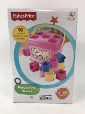 Baby's First Blocks Pink with 10 Colorful Blocks Ages 6 to 36 months New