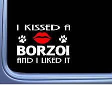 "Borzoi Kissed L911 8"" dog window decal sticker"