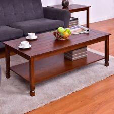 1Pc Rectangular Walnut Wood Cocktail Coffee Table W/ Shelf Living Room Furniture