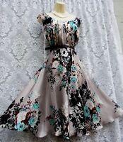 MONSOON SUMMER VINTAGE 50'S ROCKABILLY FLAPPER SILK DRESS SIZE UK 10 WEDDINGS