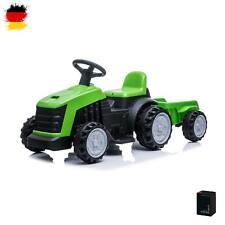 Kinder Elektro-Traktor mit Akku, Auto, Fahrzeug-Modell mit Anhänger und 3km/h