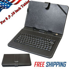 "Universal USB Keyboard Folio Leather Case Stand Cover For 8'"" 9"" 10"" Inch Tablet"