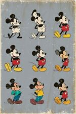 MICKEY MOUSE ~ THROUGH THE YEARS 24x36 CARTOON POSTER Walt Disney Classic Pose