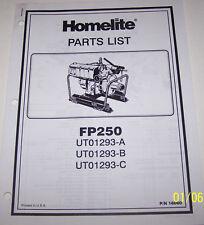 HOMELITE 4 CYCLE PARTS LIST FP250
