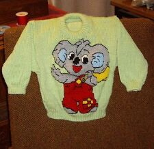 BLINKY BILL  NEW HAND KNITTED SIZE 2- JUMPER.... 100% ACRYLIC EASY CARE