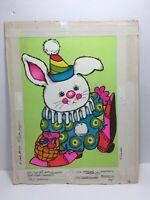 Vtg 70s Norcross Easter Card Bunny Rabbit Clown Basket Original Artwork Proof