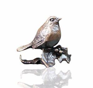 Robin on Holly Branch Bronze Miniature Sculpture - Butler & Peach. 2075