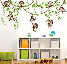 Monkey Jungle Tree Wall Sticker Removable PVC Vinyl Art Decals Kid Nursery Decor