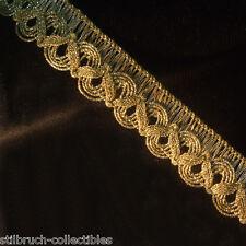 "Antique vintage gold metallic metal lace trim ribbon braid for lampshade 1"" WIDE"