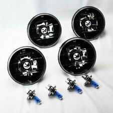 "FOUR 5.75"" 5 3/4 Round H4 Black Chrome Glass Headlight Conversion Bulbs Plymouth"