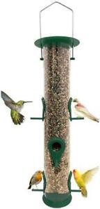 Bird Feeder Tube Hanging Feeder Weatherproof Premium Hard Plastic Outdoor Bird F