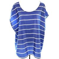 Old Navy XXL Blue White Striped Short Cap Sleeve Scoop Neck Woven Tee Top 2X