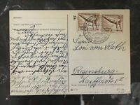 1936 Germany Olympics Stamps Mineral bath Cancel Postcard Cover to Regensburg