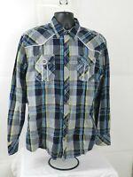 BKE Mens  Athletic Fit Plaid Blue Long Sleeve Shirt Size XL