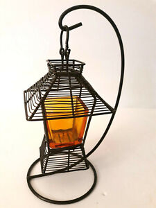 "Hanging Tealight Votive Iron Tabletop Candle Holder Amber Glass Lantern 11"" Wire"