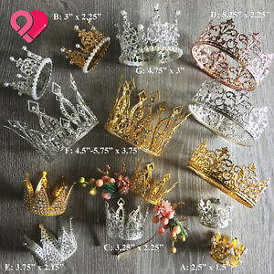 Crown Cake Topper Queen Princess Wedding Party Rose Gold Silver Pearl Rhinestone
