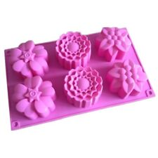 6 Flower Muffin Cup Handmade Soap Mold Cake Baking Mould Silicone Soap DIY Molds