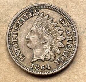 1864 Indian Cent  Copper-Nickel  AU