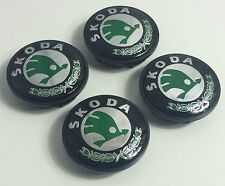 4x SKODA Grün Logo 65mm Nabenkappen Nabendeckel Radkappen Felgendeckel Rad Kappe