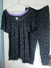 DKNY Size S 100% PAJAMA SET New ~ $70 black & purple