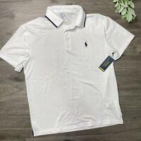 Polo Ralph Lauren Men's Large Performance Polo Shirt White Blue Pony Size NWT