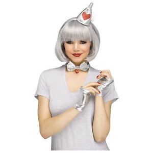 Adult Teen Womens Oz Metal Tin Man Halloween Costume Kit Headband Gloves Collar