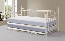 Memphis White Metal Guest Day Bed with Pull Out Trundle Bed - Optional Mattress
