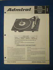ADMIRAL 750A1224  CHANGER SERVICE ADJUSTMENTS OPERATING EXPLODED VIEW MANUAL