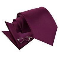 Mens Tie Hanky & Cufflinks Set Satin Plain Solid Plum Regular Slim Skinny by DQT