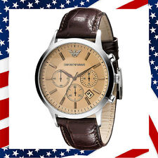 ** USA AELLER ** Authentic Emporio Armani AR2433 Chronograph Brown Leather Watch