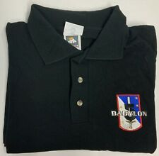 Babylon 5 1998 Cotton Deluxe 2X Black Ss Polo Embroidered Army of Light Logo