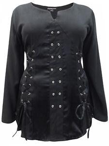 Halloween Black Pirate Queen Goth Grommet Steampunk Blouse Plus Size 18-24 BNWT