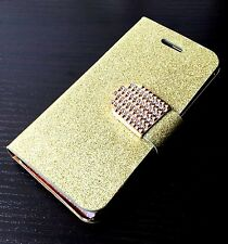 For iPhone 5C - GOLD GLITTER Diamond Bling Card Wallet Holder Pouch Case Cover