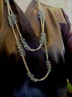 Joan Rivers  Lavender Blue Green Briolette Long Silver Tone Lavaliere Necklace