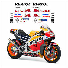 ADESIVI TEAM HONDA REPSOL HRC RC213V MOTO GP 2017 REDBULL SPONSOR !!!